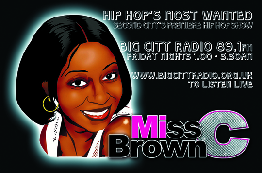 C Brown biz card frnt Miss C Browns Radio Show