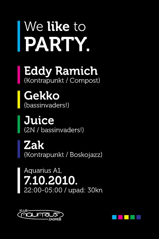 flyer 1 We Like To Party @ Aquarius (Zagreb)