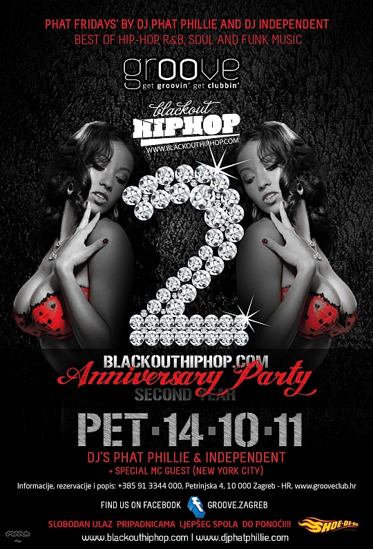 PHAT FRIDAYS BLACKOUTHIPHOP Blackouthiphop.com B Day Party večeras u klubu Groove!