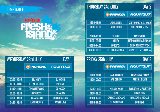 FRESH 2014 TIMETABLE big 540x380 Official Timetable for New Yorker Fresh Island Festival 2014
